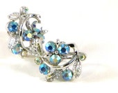 Vintage AB Rhinestone Floral Earrings Lavender Blue Screw On Silver Tone Fantastic Shine