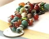 Bohemian Necklace Aventurine Jasper Carnelian Jade Vintage Beads Brass