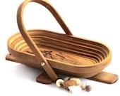 Vintage Basket Collapsible Oval Wood Rustic Decor Primitive Country Grandpa's 87 Iris Design