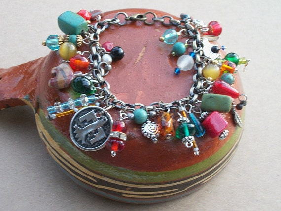 Southwestern Cha Cha Bracelet Turquoise Czech Glass Token Charms