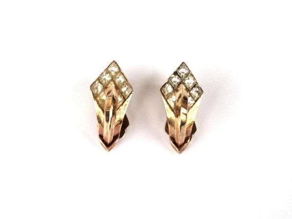 Vintage Diamond Rhinestone Earrings, Crown Trifari Earrings, Wedding ,Special Occasion, Mad Men