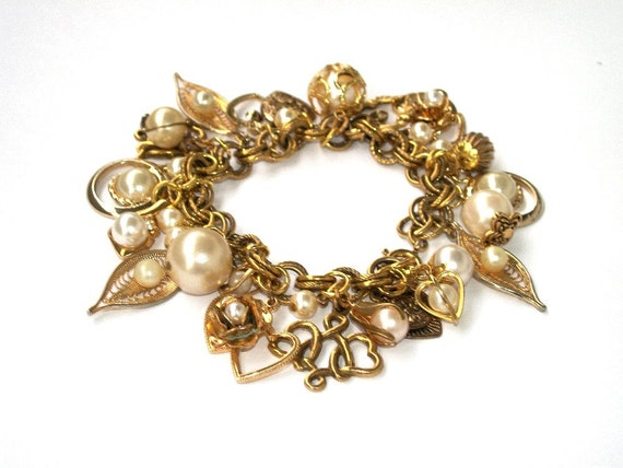 Gold and Pearl Cha Cha Charm Bracelet Valentine Hearts Roses Crystal