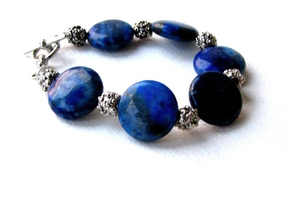 Lapis Lazuli and Silver Sparkle Bracelet Toggle Clasp Shades of Blue