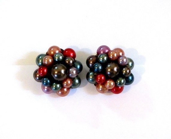 Vintage Earrings, Cluster Earrings, Red, Blue, Green, Multicolor, Clips, Hand Wired, Japan, Circa 1960
