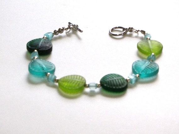 Glass Leaf and Aventurine Bracelet Teal Sage Forest Green Sterling Spring Fashion Gift