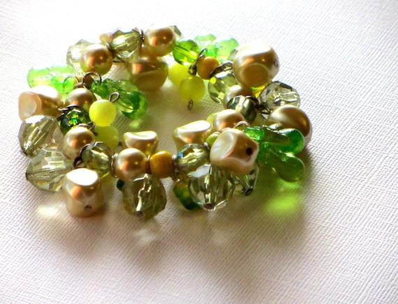 Lemon Lime Bracelet, Green and Yellow, Spring Bracelet, Retro Bracelet,Tropical, Bright Colors Bracelet