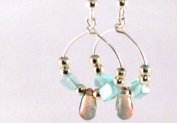 Earrings Green Aventurine and Czech Glass Bead Dangling Hoops Sterling Silver Beads Orange Green Multicolored