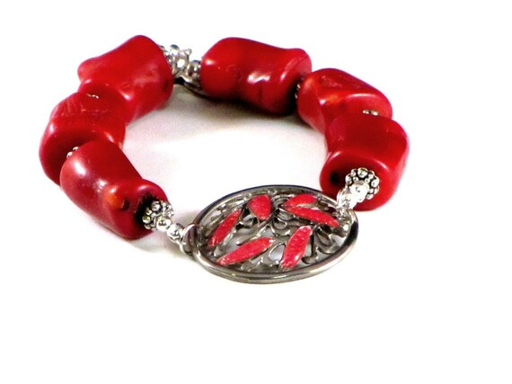 Red Pacific Sea Coral Enameled Medallion Bracelet Silver and Red