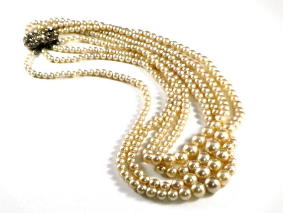 Vintage Pearl Necklace Four Strands Art Deco Silver and Rhinestone Clasp