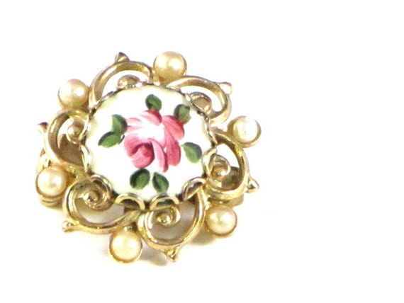 Vintage Pin Guilloche Enamel Pearl and Rose Brooch