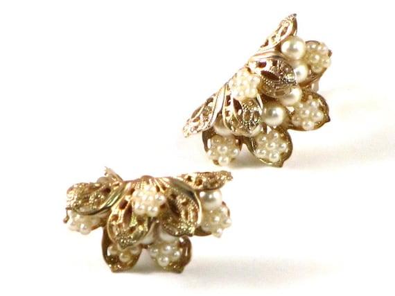 RESERVED For LA PLEASE do not purchase Vintage Gold Filigree and Pearl Folded Flower Earrings Feminine Romantic
