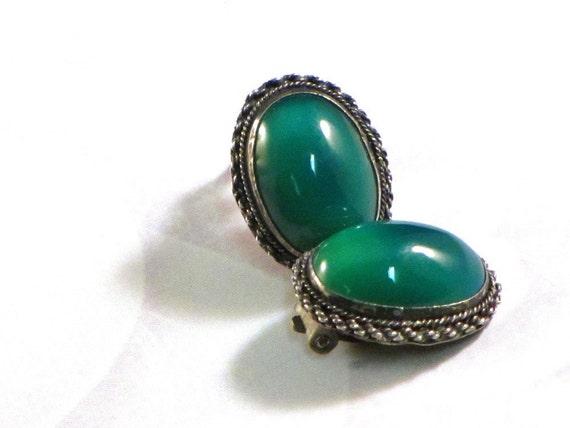 Vintage Kete Earrings Green Moonstone 900 Silver Middle Eastern Ethnic Boho Chic