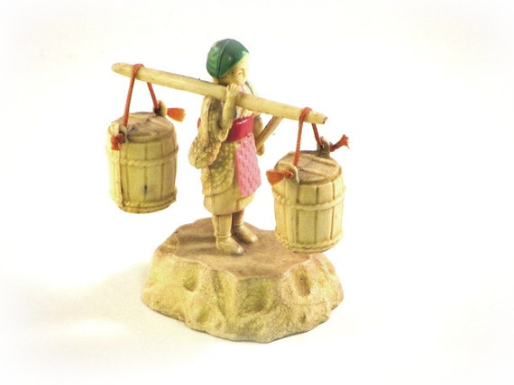 Vintage Celluloid, Japanese Figurine, Oriental Woman Carrying Pots c.1960