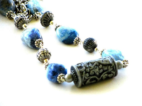 RESERVED FOR H...Please do not purchase  Bohemian Blue Jasper Necklace Gypsy Vintage Ethnic Beads Silver Findings