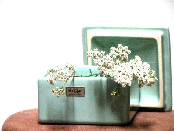 Vintage Ceramics Royal Haeger Covered Box Blue Green Two Piece Collectible Home Decor Tagged