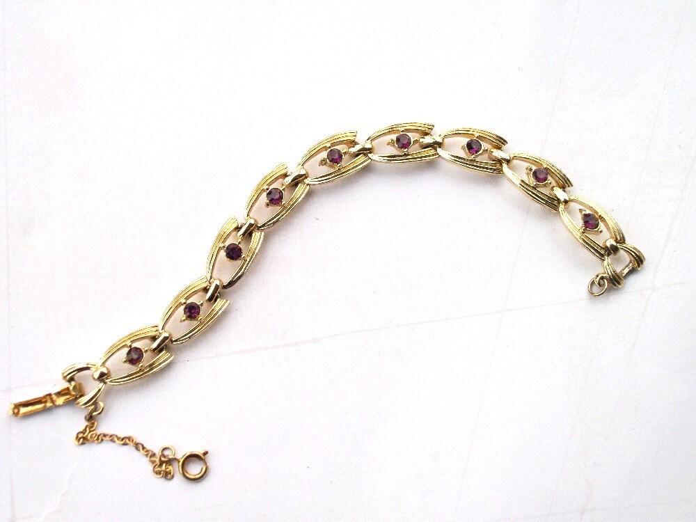 vintage coro bracelet gold link purple rhinestone bracelet