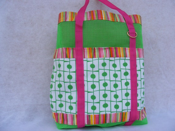 Retro Lime Green Polka-Dot Vinyl Tote Handmade Mulitcolor Stripe Trim Vintage Style Key Clasp Sassy Girly Summertime Beach Bag