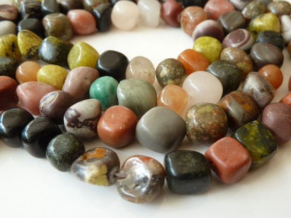 Multi Gemstone Nugget Beads - 16 Inch Strand - Multicolor, Natural Gemstone Pebbles