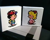 "Ness AND Paula, EarthBound (Mother): Two 6""x6"" Paintings"