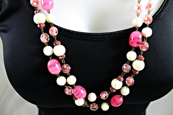 "Vintage Venetian glass necklace 56"" long  flambe' pink and white"
