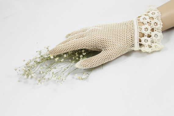 Vintage lacy gloves Downton Abbey authentic style women's crochet tatted wedding prom