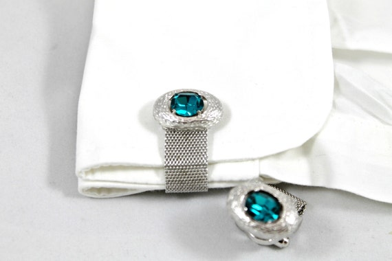 Vintage men's cuff links Dante' wrap-arround  rockabilly dudes silver tone blue topaz