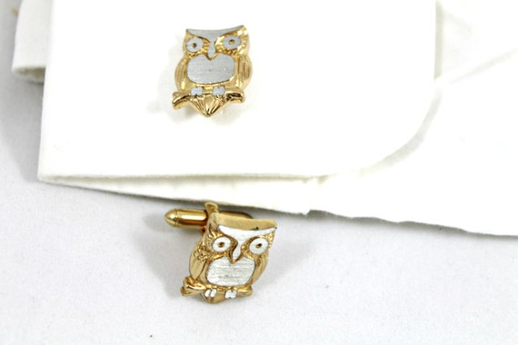 Vintage owl cuff links for dudes and steam punk hipster