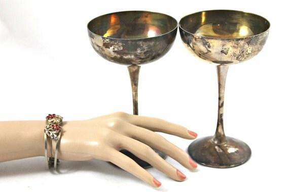 Vintage toasting goblets Eales silver over copper bridal wedding champagne