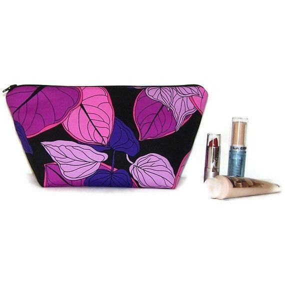 Large Make Up Bag Cosmetic Case in Vivid Purple Leaves on Black