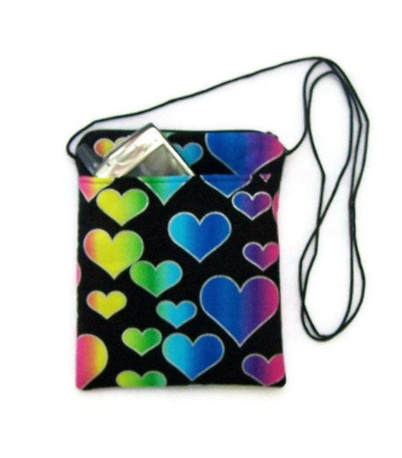 Hip Bag, Mini Hipster Purse in Rainbow Hearts