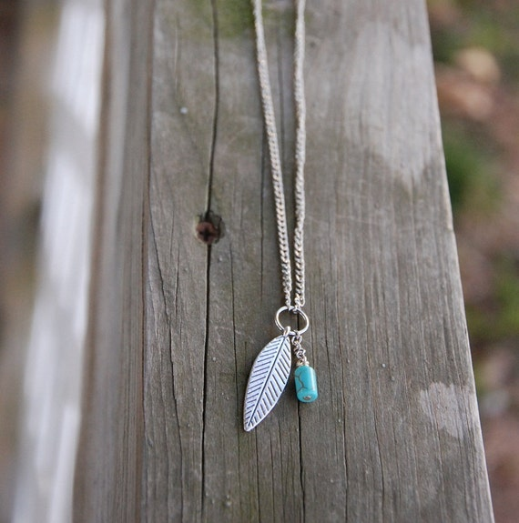 """27"""" Feather & Turquoise Pendant Necklace"""