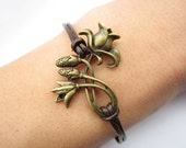 Bracelet---antique bronze flower with branch&brown leather chain