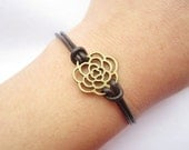Bracelet---antique bronze hollow-out rose&brown leather chain