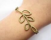 bracelet---antique bronze hollow-out branch pendant & antique silver chain