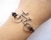Love Bracelet---antique silver 3d love bike&love bracelet brown leather chain