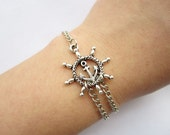 Bracelet---antique silver rudder with anchor&alloy chain