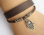 antique silver little HAMSA bracelet---double-deck bracelet&brown leather braid chain