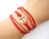 three circles Bracelet---antique silver little anchor&red wax rope chain