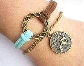 Twelve constellation Bracelet---antique bronze circle and constellation pendant&double-deck chain