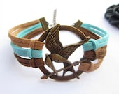 Bracelet---antique bronze pendant & colorful rope chain birthday gift