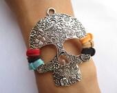 super cool bracelet---antique silver big skull pendant & colorful rope chain