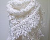 WHITE Crochet shawl ..wedding bridal shawl.knitting, fashion,shrug,stole, capelet, cream, women, scarflette,