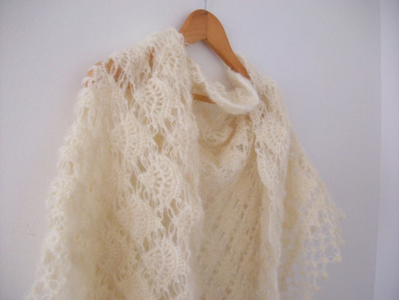 Naturel color Warm Shawl,bridal,wedding,christmas gift.