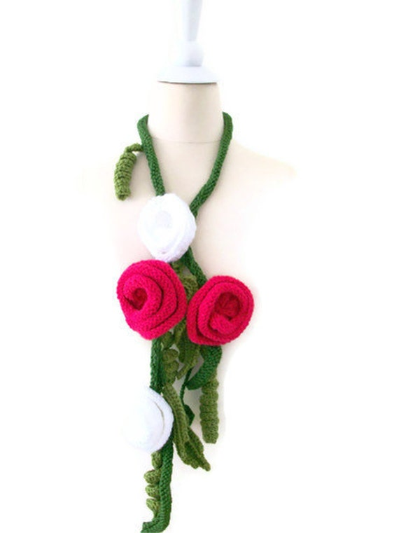 Hand Crocheted knitting  Flowers Scarf Necklace .