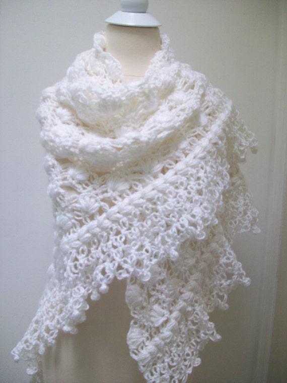 White Crochet Shawl Wedding Bridal Shawl Knitting By