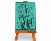 Turquoise snowdrops ACEO print, card collection with floral art sketch