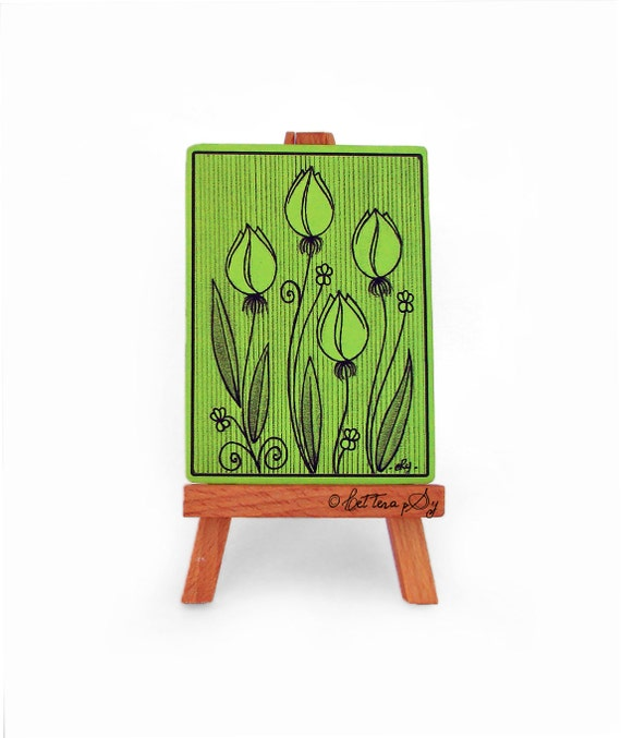 Green tulips ACEO print, art card collection with floral illustration