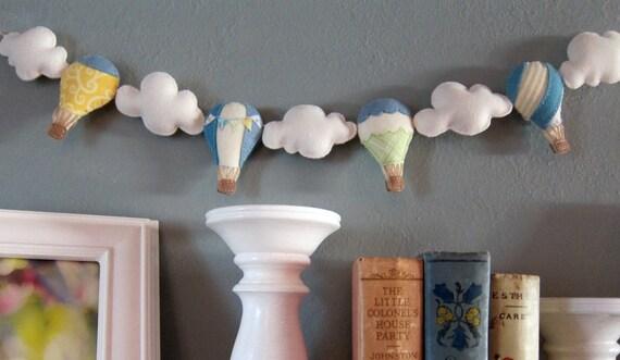 Felt Garland/Bunting Hot Air Balloon and Clouds