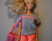 Barbie clothes sports dress in grey and neon pink