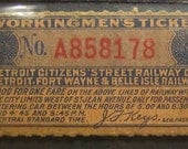 "Late 1800s ""Workingmen's Ticket"" for Detroit Citizens Street Railway / Detroit, Fort Wayne & Belle Isle Railway"